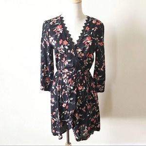 Band of Gypsies Black Floral Faux Wrap Dress